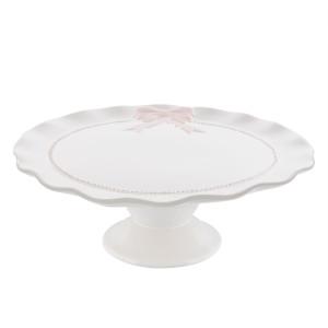 Platou ceramica alb roz Bow Ø 26x9 cm
