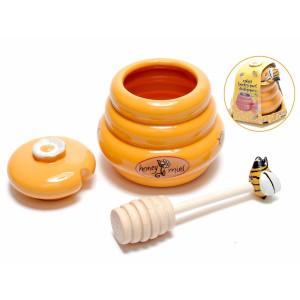 Borcan miere ceramica portocaliu  Ø 9 cm x 8 H