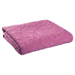 Cuvertura de pat din bumbac matlasat roz 180 cm x 260 h