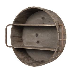 Raft de perete cu 2 polite din lemn si fier maro antichizat 63 cm x 20 cm x 57 h