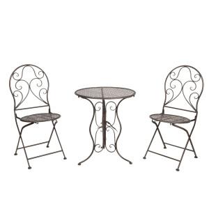 Set 2 scaune pliabile si masa fier forjat negru Garden