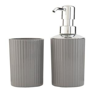 Set baie sticla gri 2 piese dispenser sapun pahar Ø7x16 cm