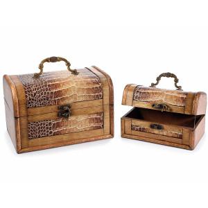 Set 2 cufere bijuterii din lemn si piele ecologica 22 cm x 15.5 cm x 14.5 h