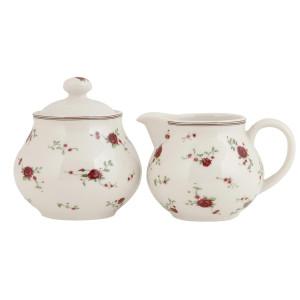 Set latiera si zaharnita ceramica Roses 13x10x11 cm Ø 10x11 cm