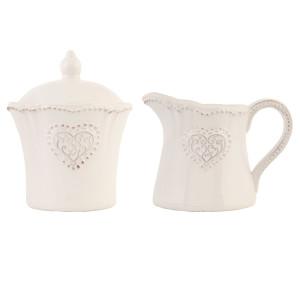 Set latiera si zaharnita ceramica crem Elegance Ø 9x11 12x8x9 cm