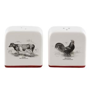 Set ceramica alb rosu solnita si pipernita Cow 6*3*7 cm