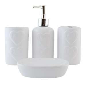 Set baie ceramica alba 4 piese Cuore Ø 7x18 cm