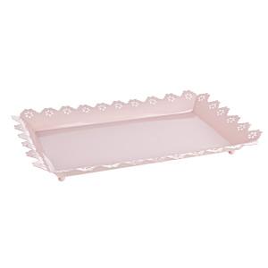 Tava decorativa metal roz Finesse 40x24x4h