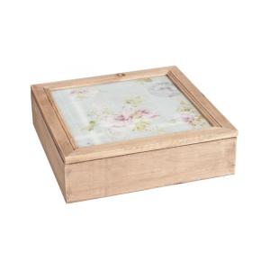 Cutie pentru ceai 9 compartimente lemn sticla  24 cm x 24 cm x 7 cm