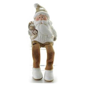 Figurina Mos Craciun picioare textil Brown 17 cm