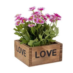 Flori artificiale roz in ghiveci de lemn natur 10 cm x 10 cm x 15 h