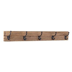 Cuier de perete din lemn maro cu 5 agatatori din fier negru patinat Rafter 94 cm x 14 cm x 13 cm