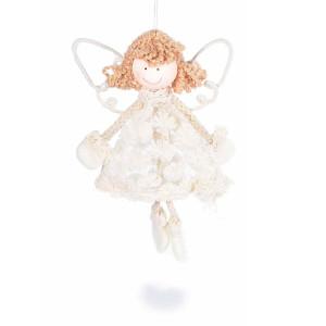 Ornament brad din dantela crem model Inger 12x3x18 cm