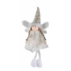Ornament brad Inger alb 11 cm x 21 h