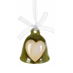 Clopotel suspendabil din ceramica verde crem model Inimioara Ø 5x5 cm