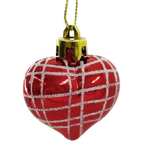 Set 4 ornamente brad Red Heart