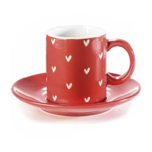 Ceasca cu farfurioara ceramica rosie alba Ø 6 cm x 6,5 h