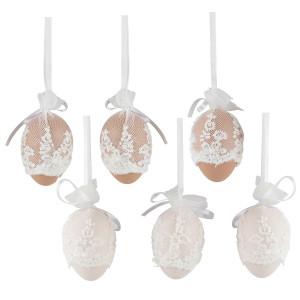 Set 6 oua suspendabile Paste cu dantela alba 6 cm
