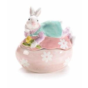 Ou Paste cu model Iepuras ceramica roz cm 14 x 10 cm x 15 h