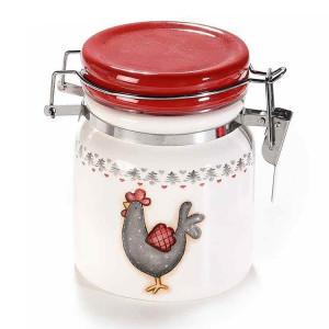 Borcan cu inchidere ermetica din ceramica alb gri rosu 10 cm x 9 cm x 10 h