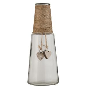 Vaza sticla cu decor sfoara Rustique Ø 9*24 cm