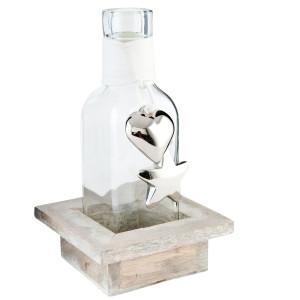 Vaza sticla cu suport lemn Augusta 9x9x17 cm