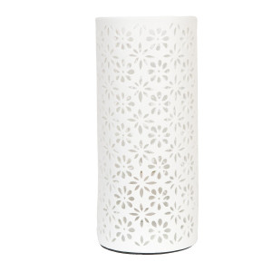 Veioza decorativa ceramica alba model Flori Ø 12x28 cm E27