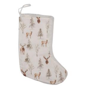 Ciorap Craciun din textil alb maro model Reni 21x1x28 cm