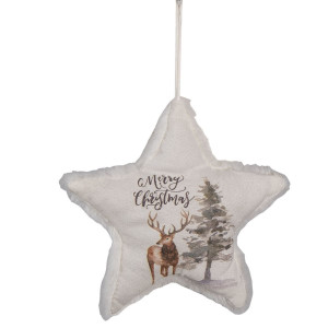 Ornament brad din textil alb model Stea 17 cm x 3 cm x 18 h