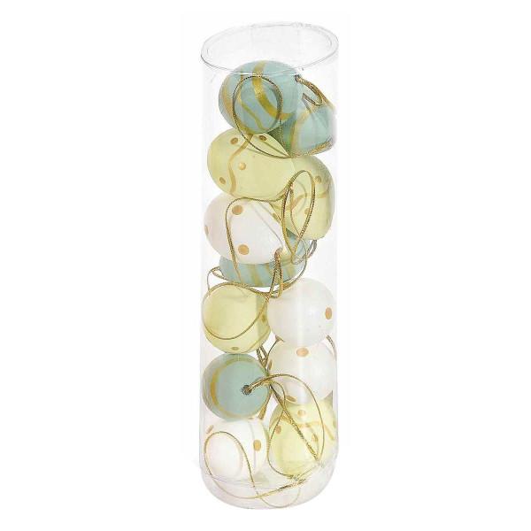 Set 12 oua decorative plastic suspendabile verde albastru alb