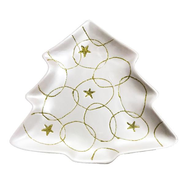 Platou ceramica decor brad alb auriu  23 cm x 28H