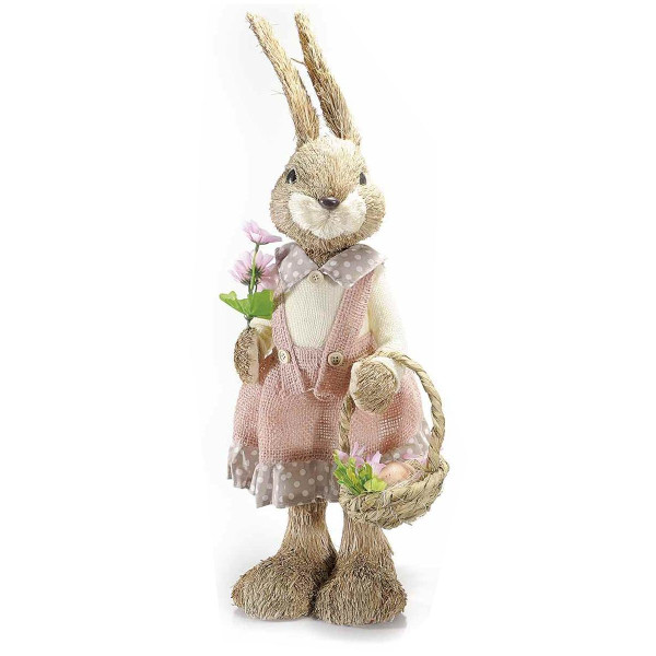 Figurina Iepuras Paste cu rochita roz fibre naturale m 21x15x58H