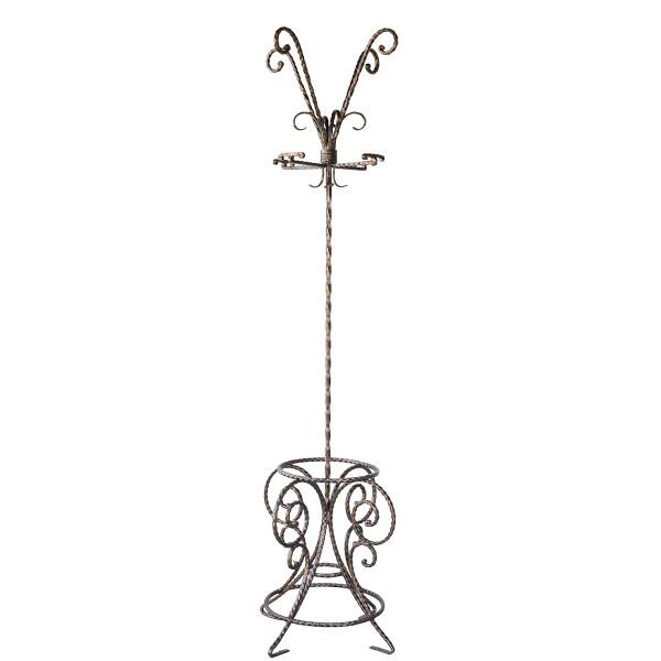 Cuier fier forjat de podea 4 agatatori negru cu patina aramie 55 cm x 200 H