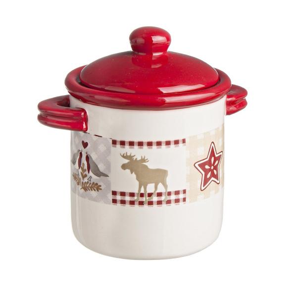 Borcan Craciun ceramic decorativ cu capac model Ren alb rosu 13xx14h