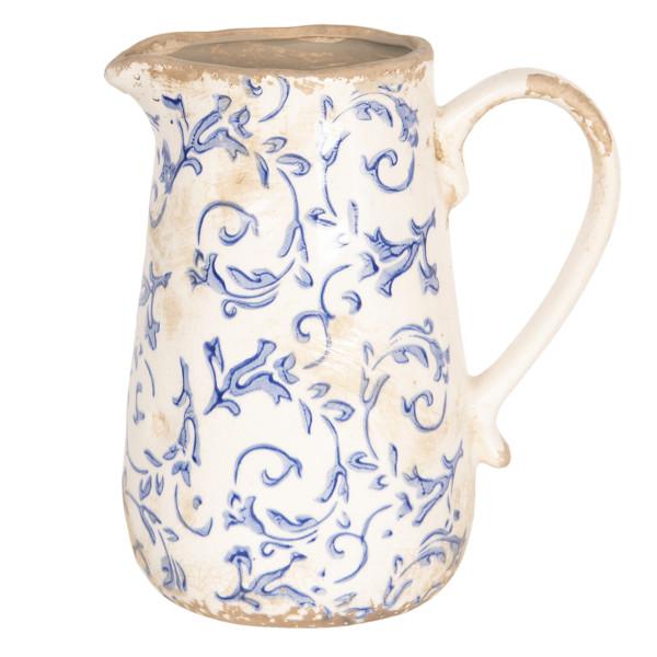Carafa ceramica alb albastru vintage 17 cm x 12 cm x 18 cm 1 L