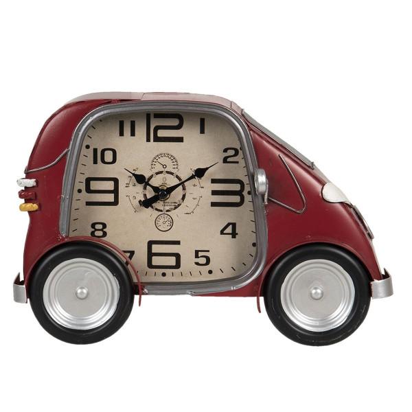 Ceas de perete din metal visiniu model Masina 33 cm x 9 cm x 21 h