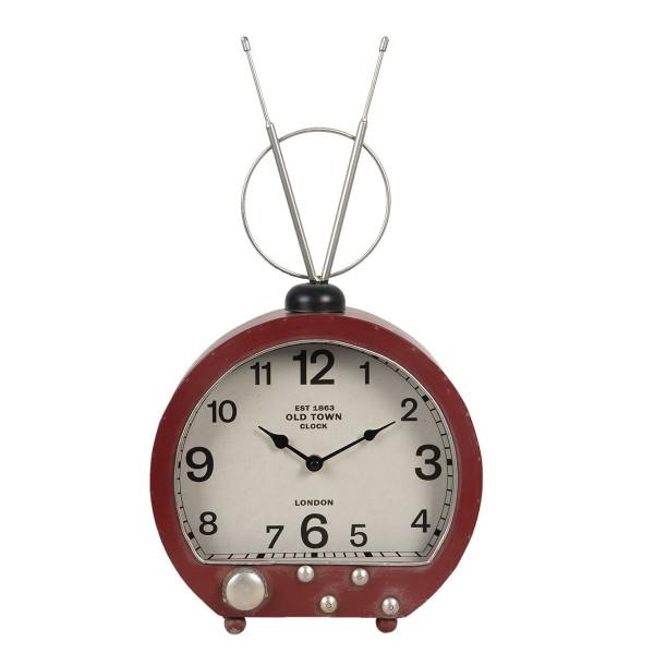 Ceas de masa din metal visiniu model Radio Retro 26 cm x 10 cm x 47 h