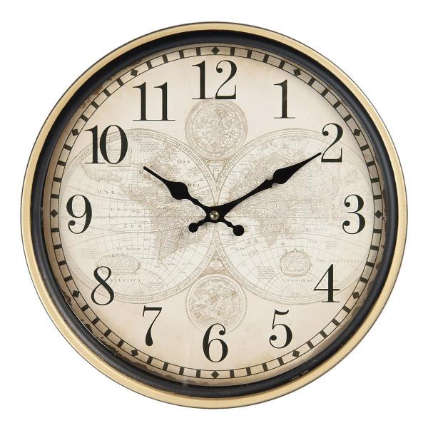 Ceas de perete cu rama din metal maro auriu Harta Lumii Ø 29 cm x 4 cm