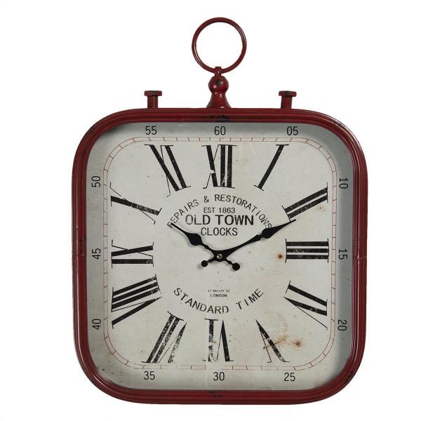 Ceas de perete din metal rosu antichizat 40 cm x 3 cm x 53 h