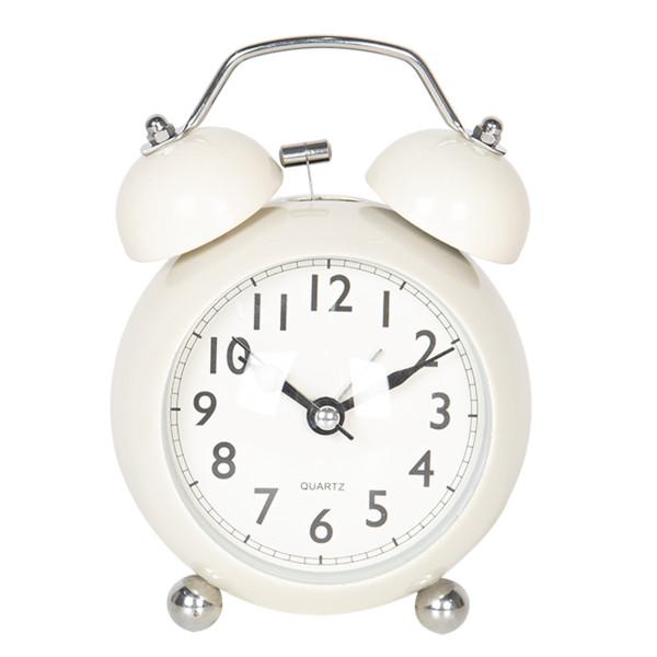 Ceas desteptator de masa metal alb clasic Ø 9 cm x 12 cm