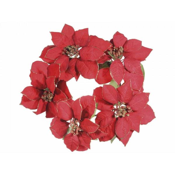 Coronita craciunite artificiale rosii 35 cm