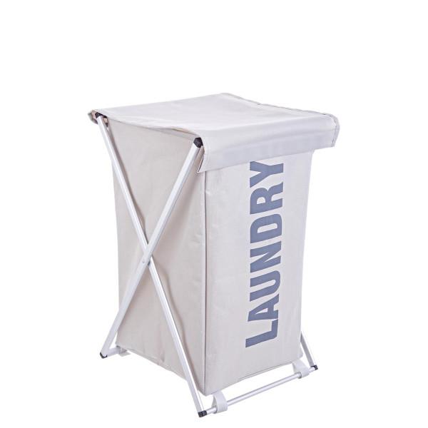 Cos rufe pliabil cu capac textil gri albastru Laundry 38 cm x 34 cm x 57 h