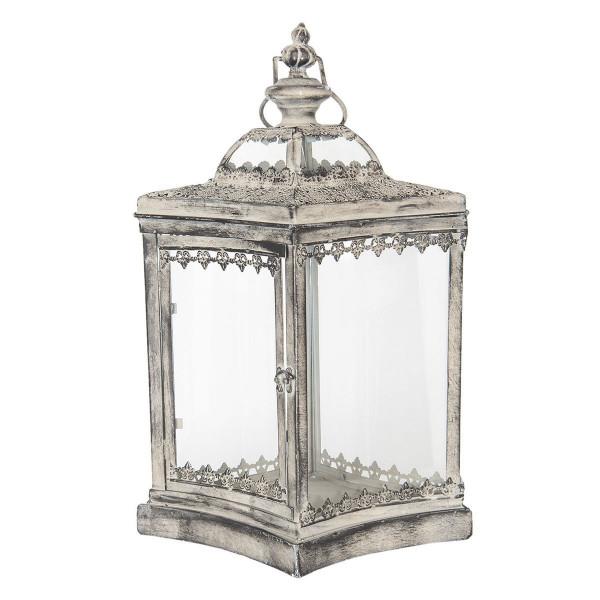 Felinar din fier gri antichizat si sticla 33 cm x 25 cm x 51 h