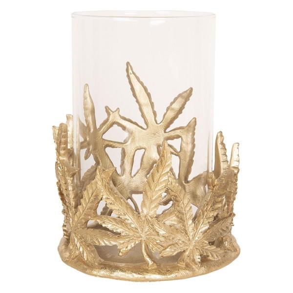 Suport lumanare cu suport din metal auriu cu pahar sticla