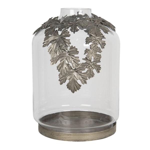 Suport lumanare cu suport din metal auriu antic cu pahar sticla