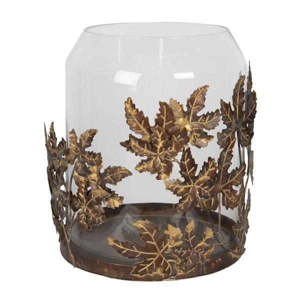 Suport lumanare cu suport din metal cupru cu pahar sticla