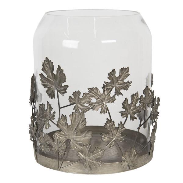Suport lumanare cu suport din metal gri cu pahar sticla