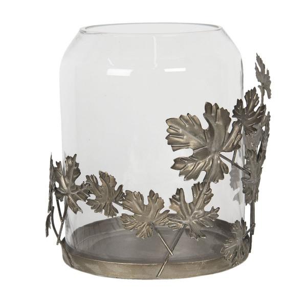 Suport lumanare cu suport din metal gri cu pahar sticla..