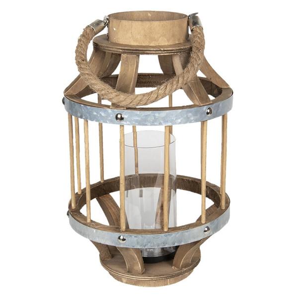 Felinar din lemn natur cu pahar din sticla