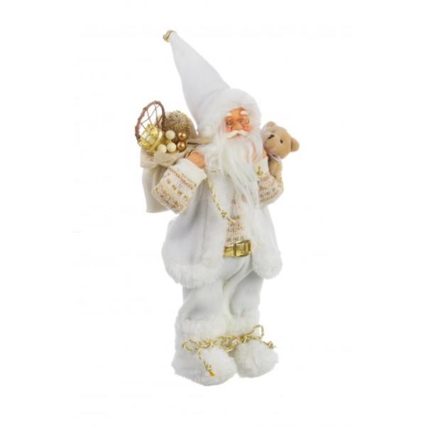 Figurina Mos Craciun alb auriu 16x30h